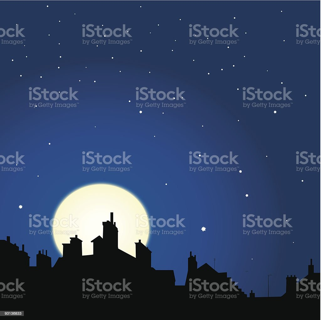 rooftops night view royalty-free stock vector art