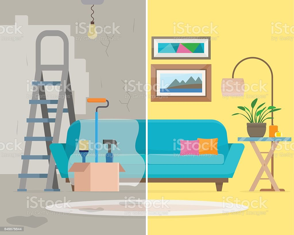 Room before and after repair. vector art illustration