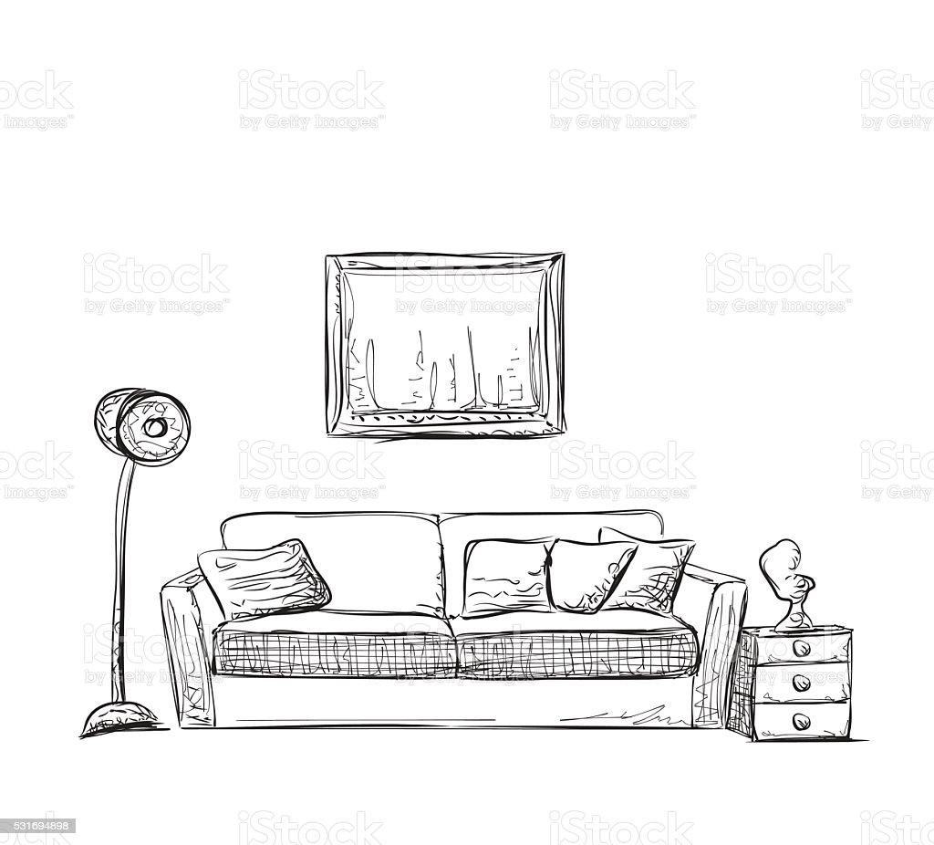 Room interior sketch hand drawn sofa stock vector art for Sofa zeichnung