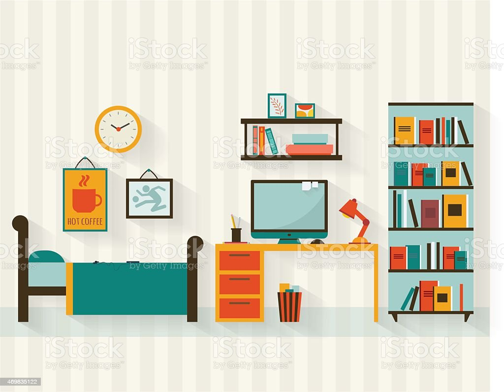 Room interior vector art illustration