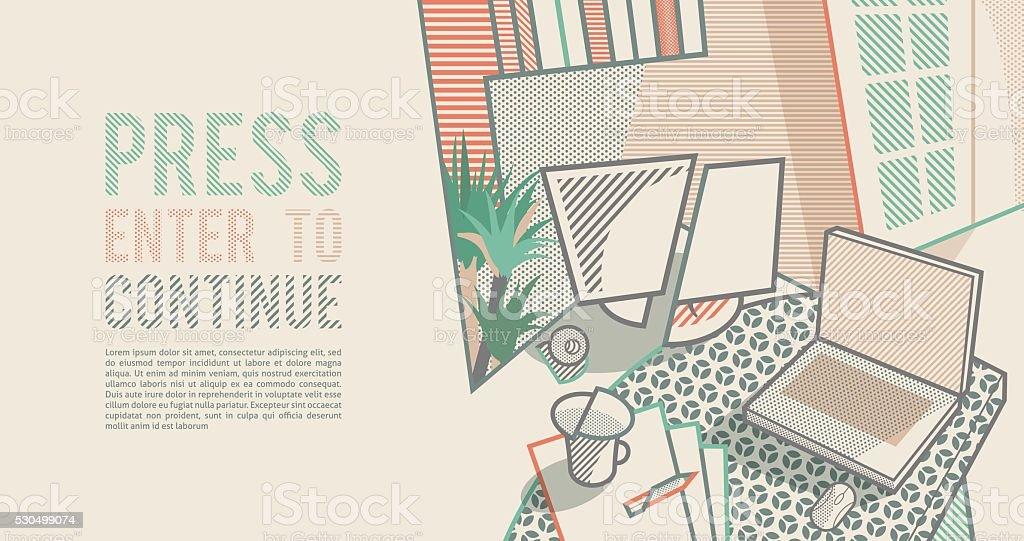Room interior. Workspace. Pop art style background vector art illustration