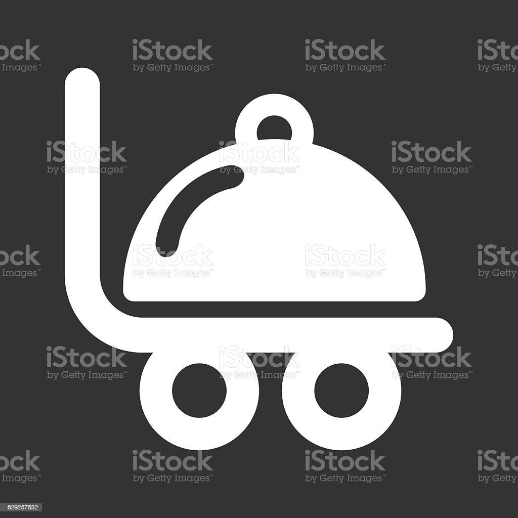 Room Service Food Cart Icon Vector Illustration vector art illustration