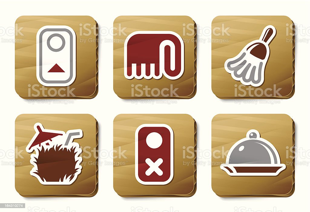 Room service icons | Cardboard series royalty-free stock vector art