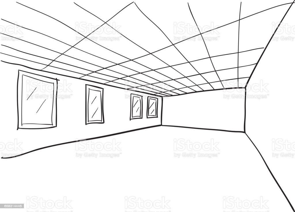 Room Sketch Cutout vector art illustration