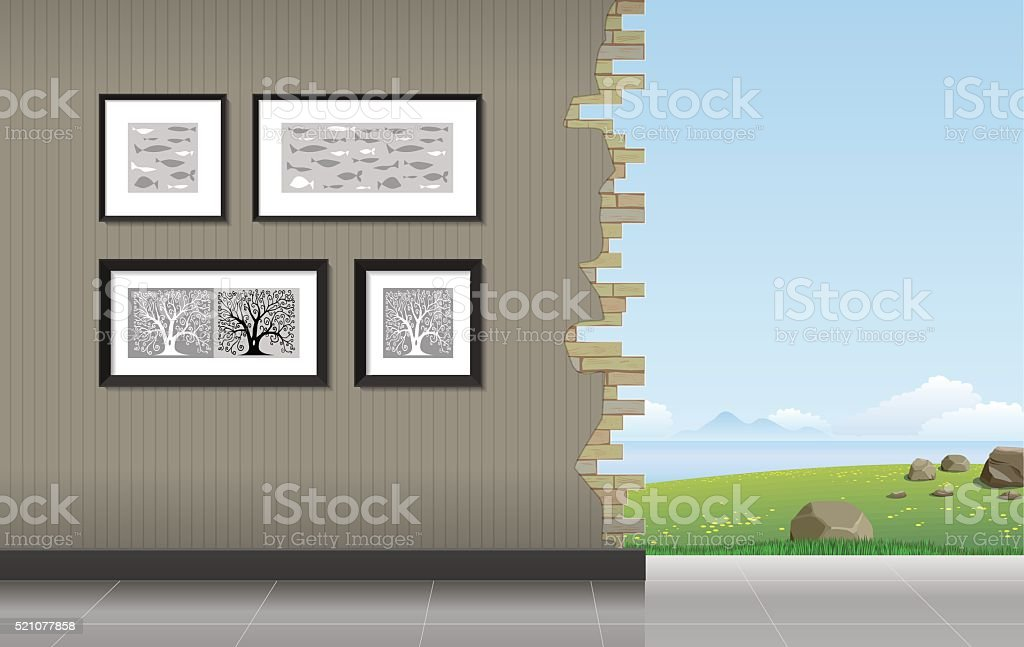 Room with a hole vector art illustration