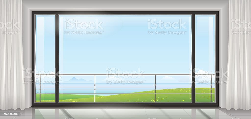 Room with a huge window vector art illustration