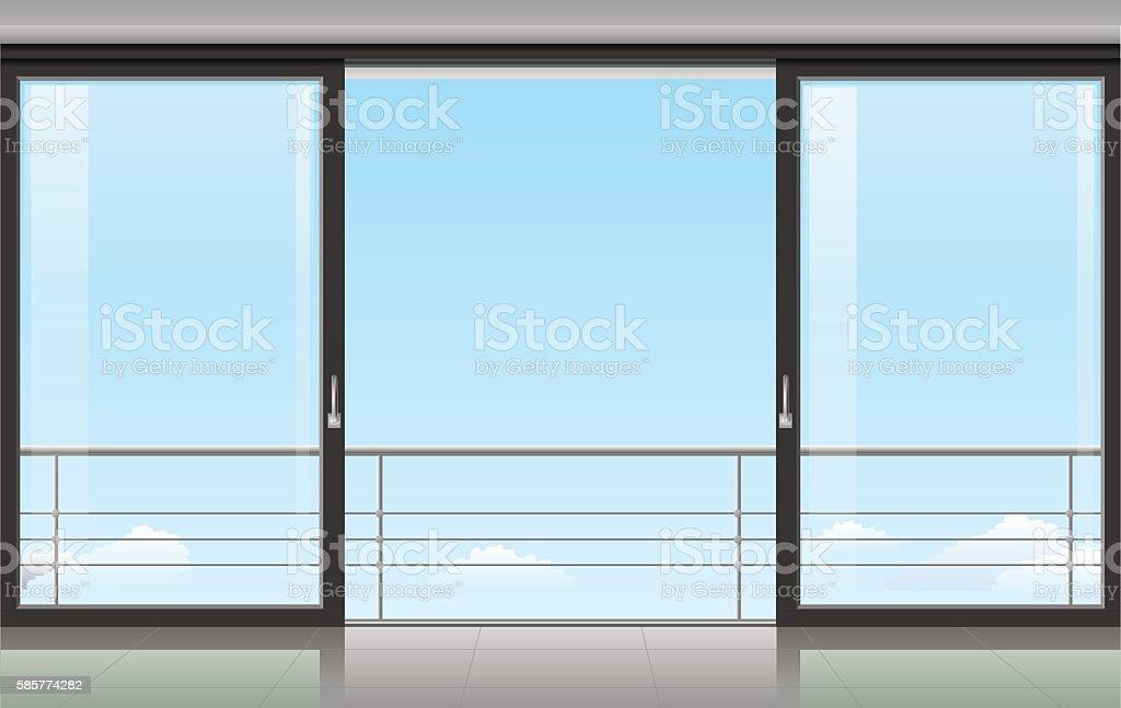 Room with a sliding door vector art illustration