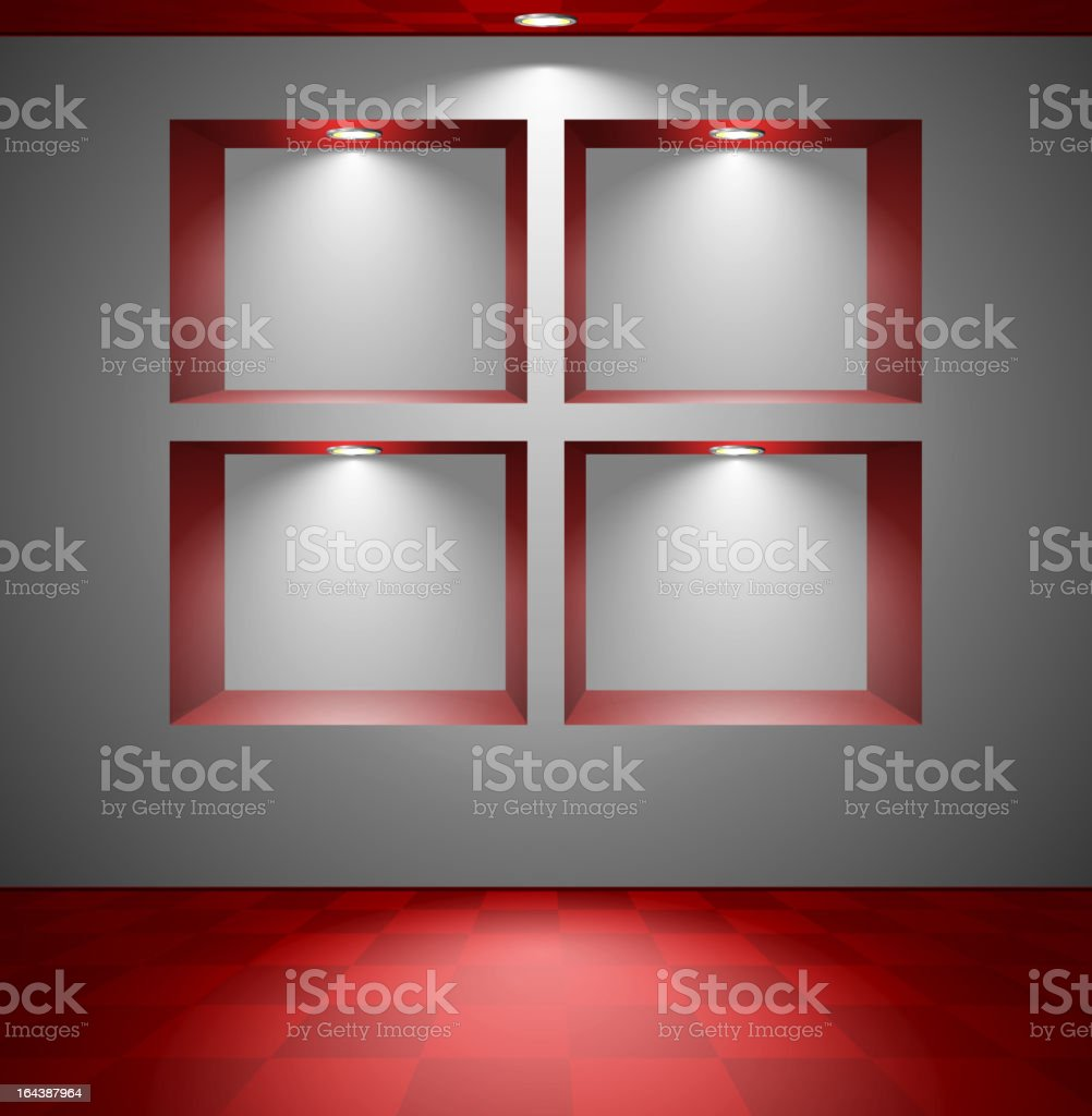 Room with four lightened red niches royalty-free stock vector art