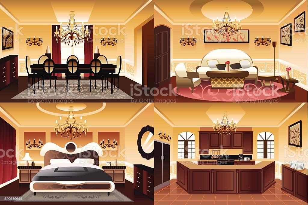 Rooms inside the house vector art illustration