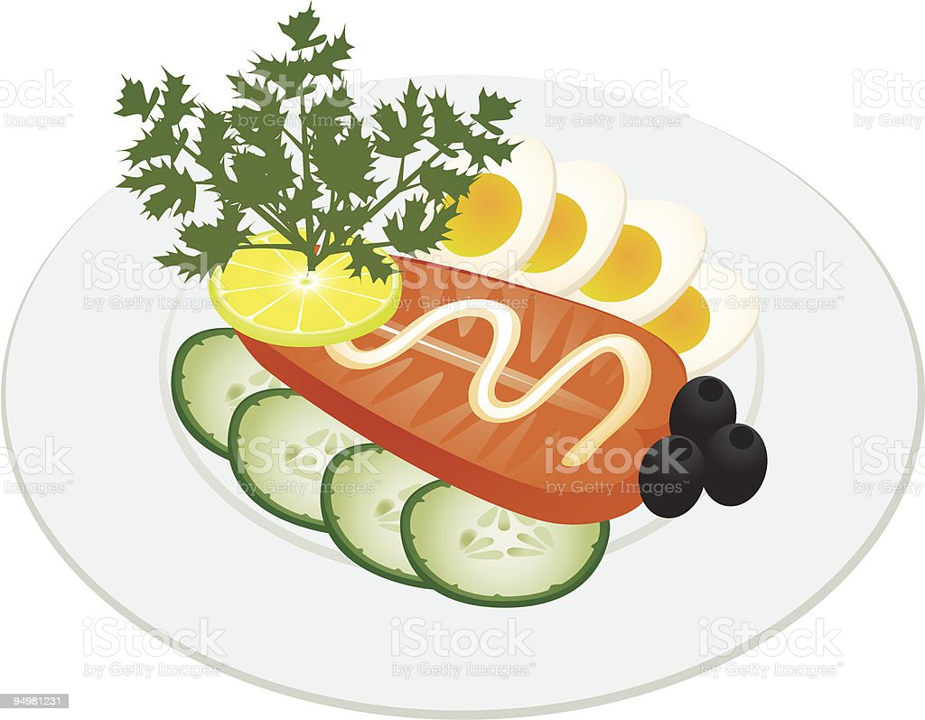 Roosted fish with vegetables and egg royalty-free stock vector art
