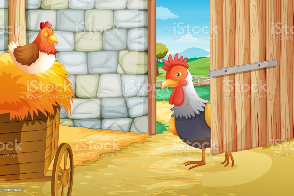 Rooster and a hen at the barnhouse royalty-free stock vector art