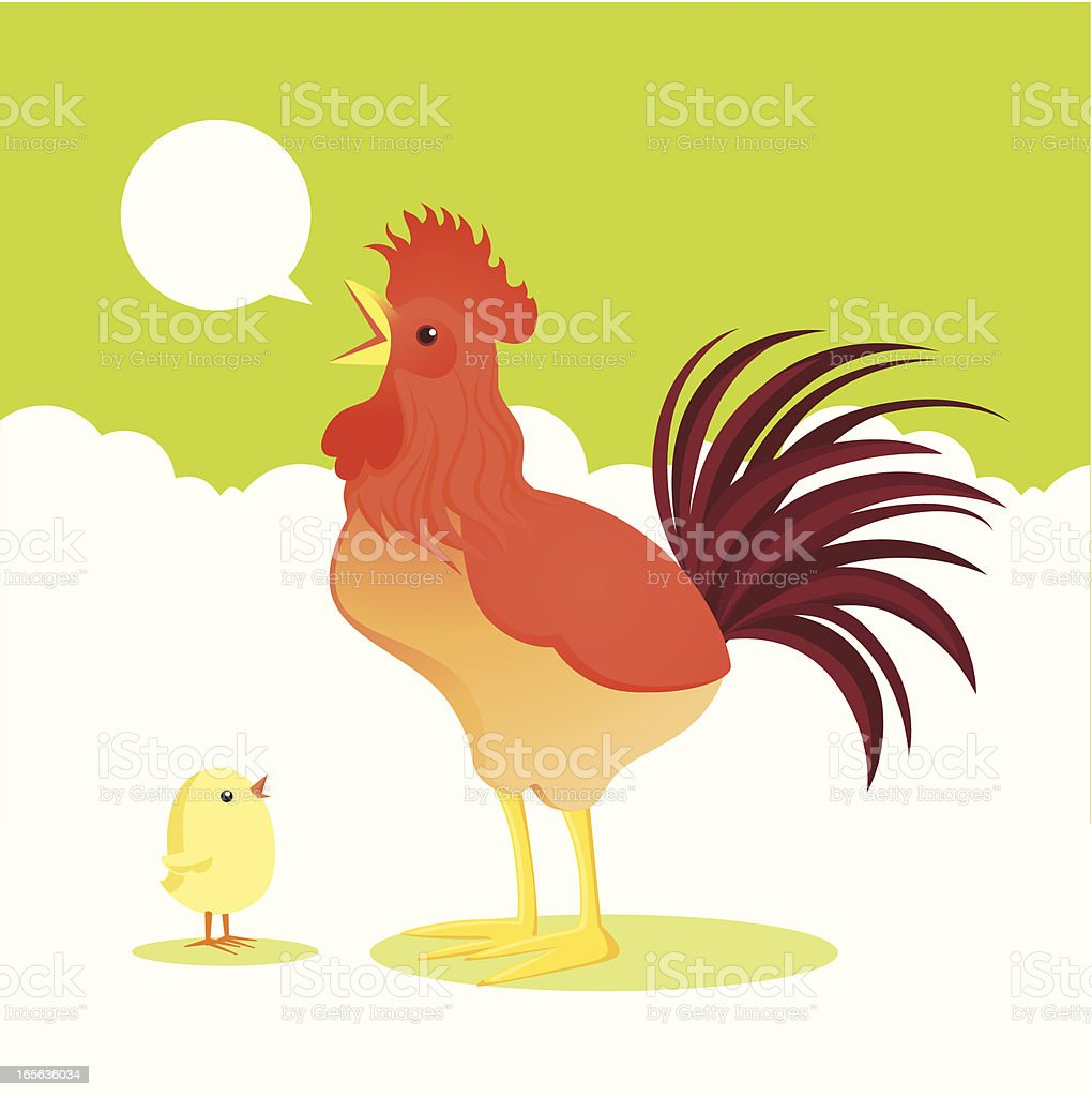 rooster and chick vector art illustration