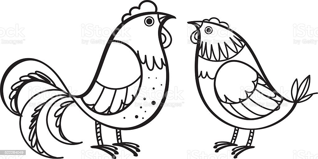 Rooster and hen vector art illustration