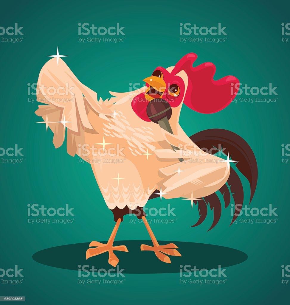 Rooster character singing song. Vector flat cartoon illustration vector art illustration