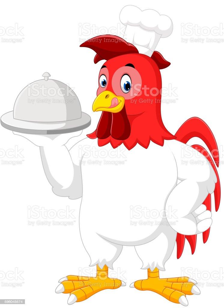 Rooster chef cartoon vector art illustration