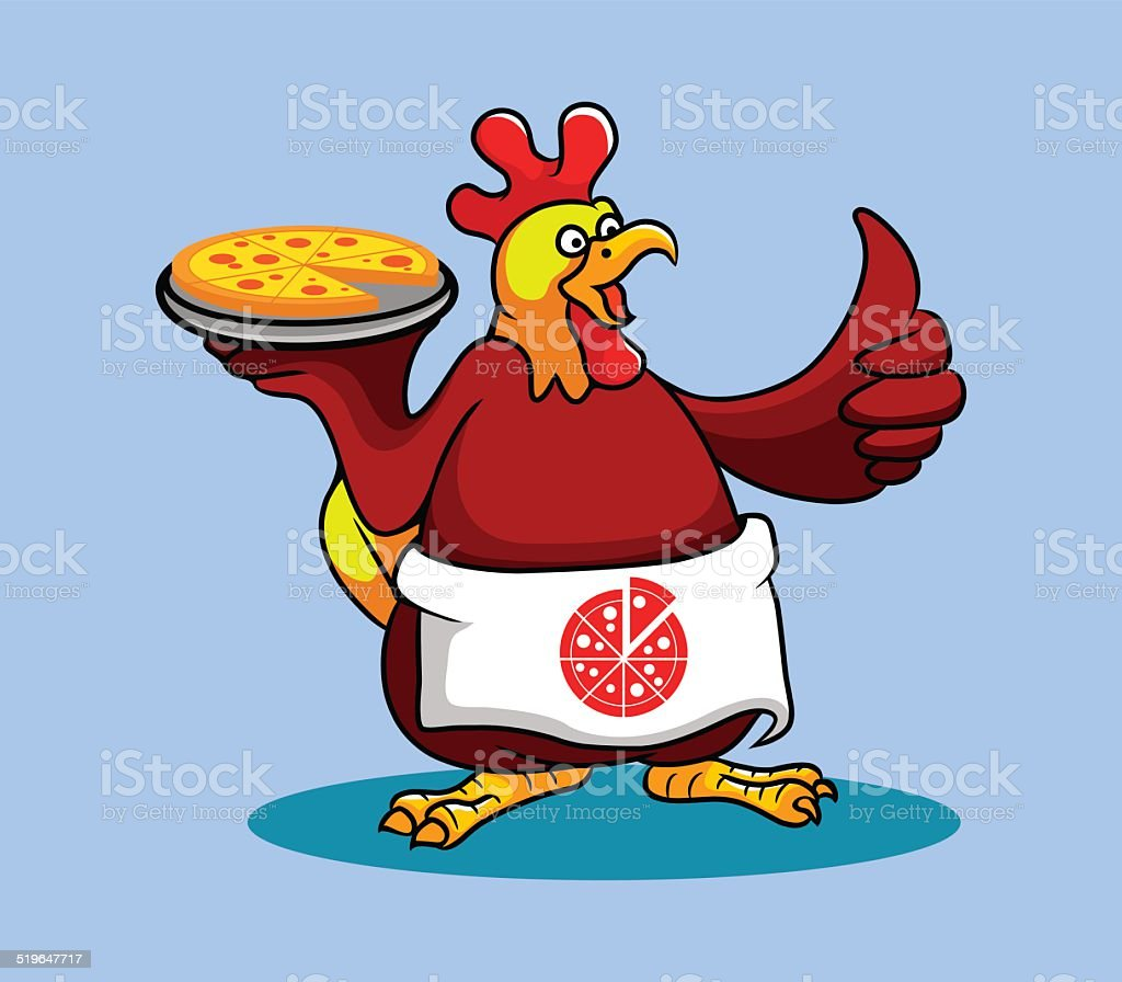 Rooster Chef (Pizza) vector art illustration