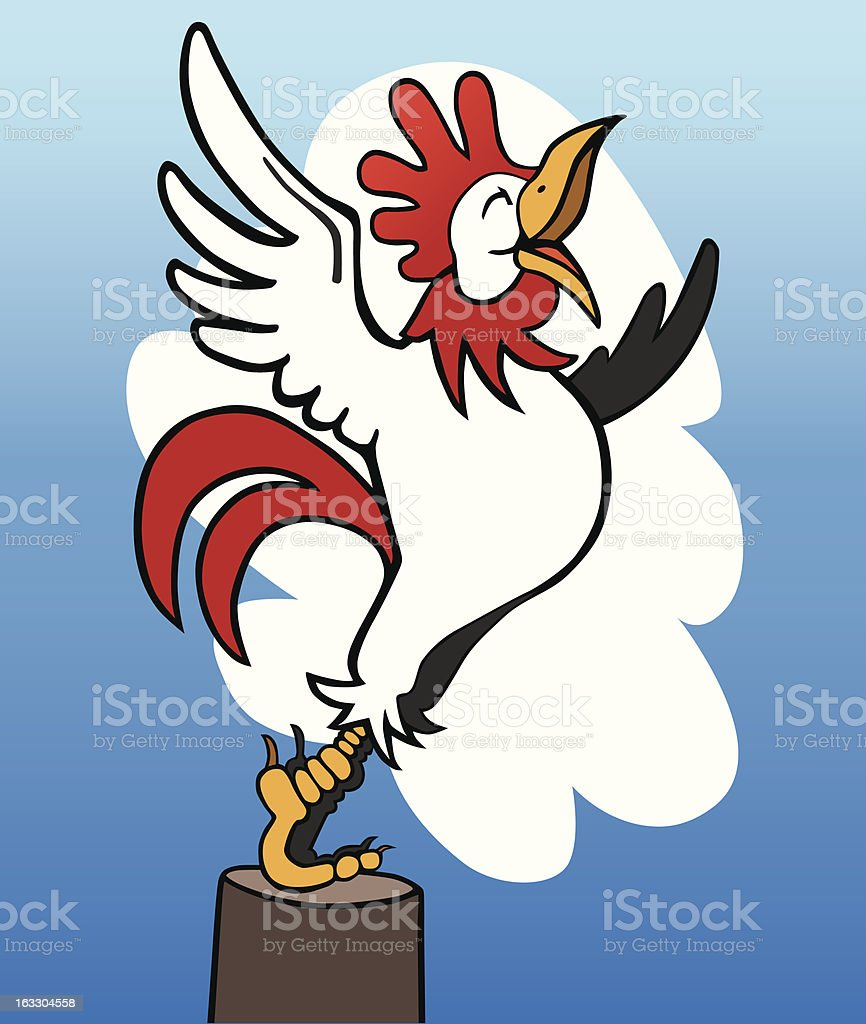 Rooster crowing royalty-free stock vector art