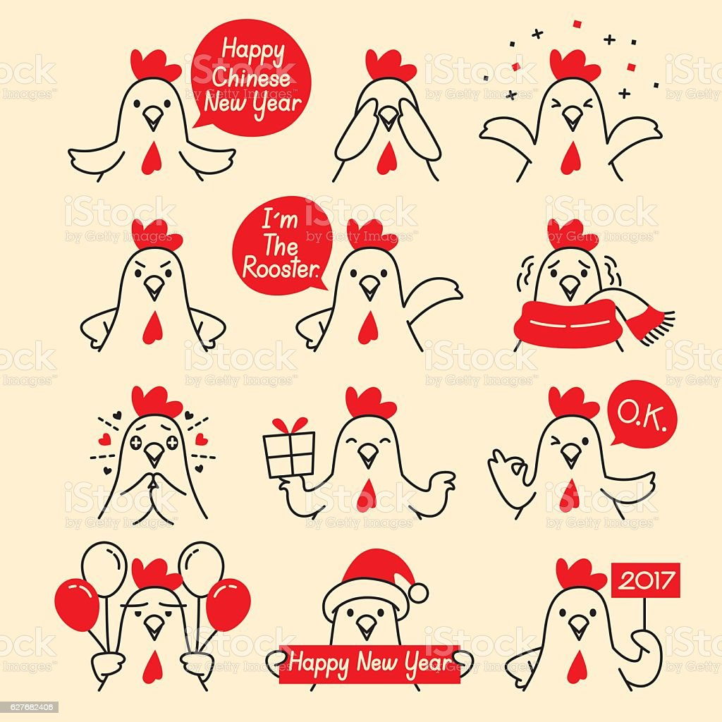 Rooster Emoticons Icons Set vector art illustration