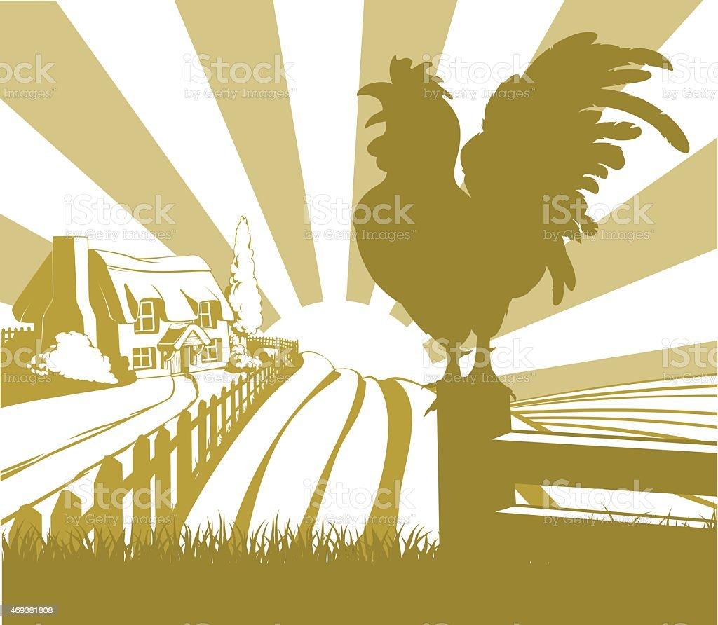 Rooster farm field landscape vector art illustration