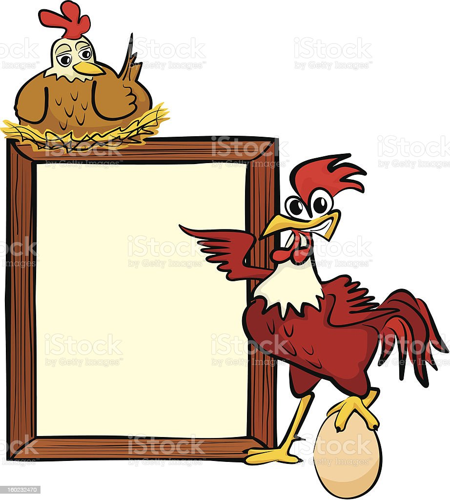 rooster, hen and billboard royalty-free stock vector art