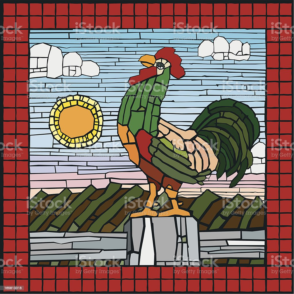 Rooster on Fencepost vector art illustration