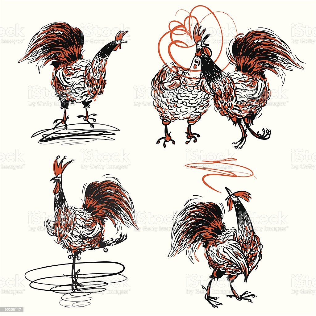 Roosters and a Hen royalty-free stock vector art