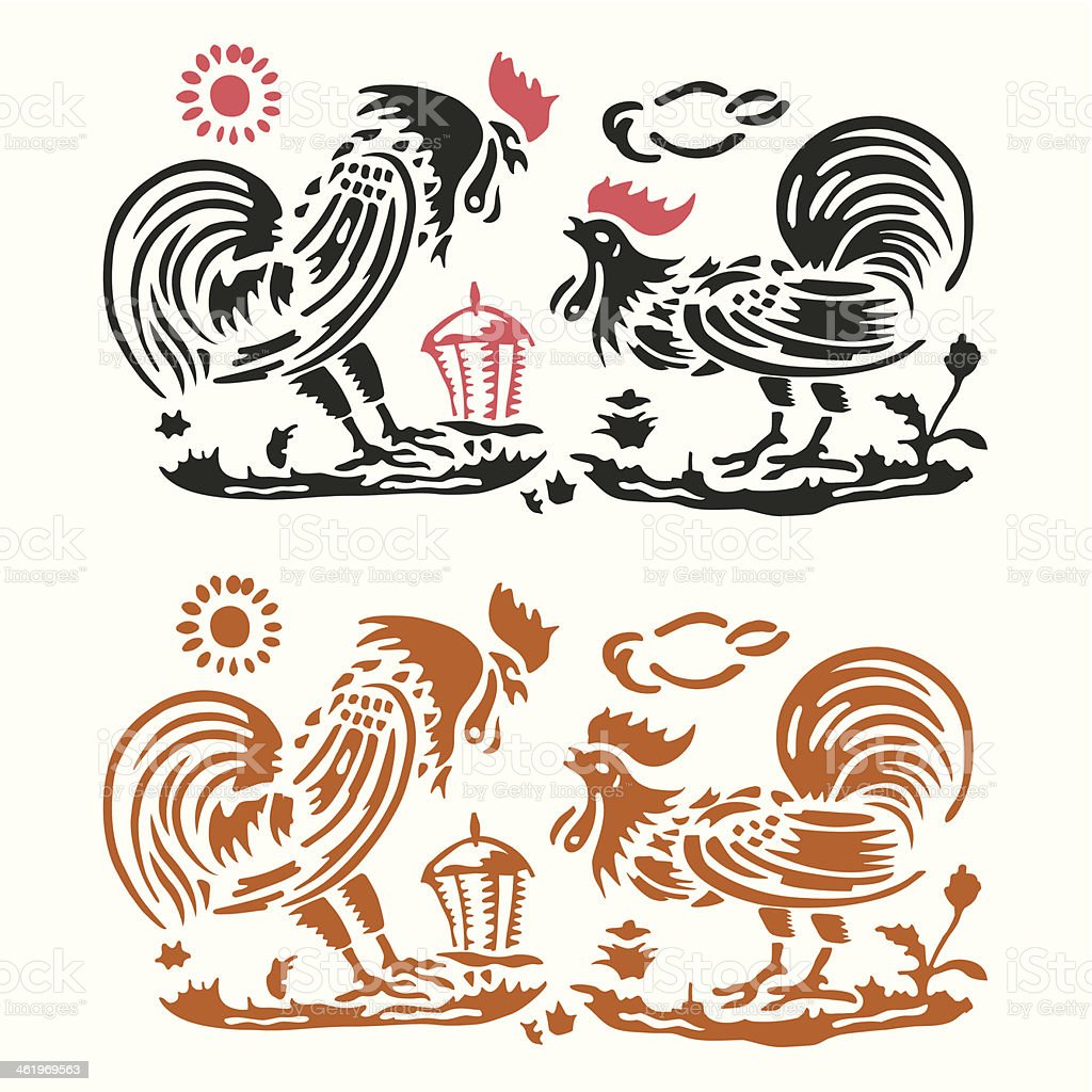 roosters in farm scenery vector art illustration
