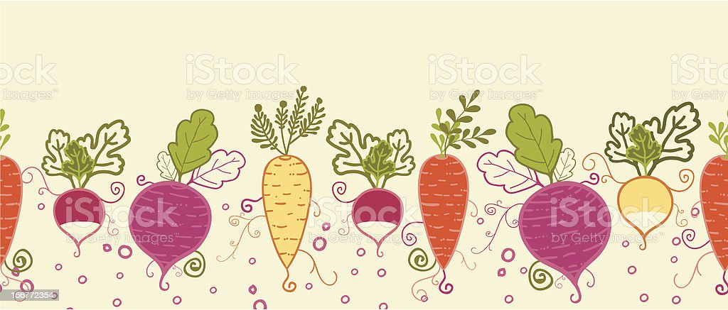 Root Vegetables Horizontal Seamless Pattern Ornament royalty-free stock vector art