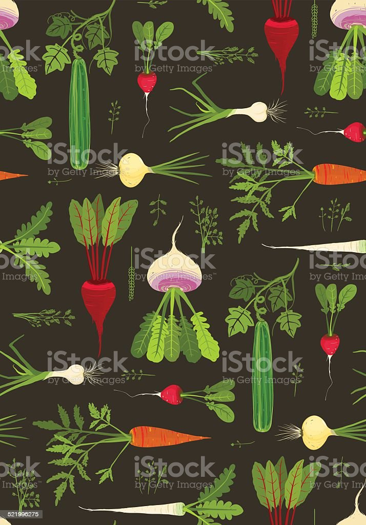 Root Vegetables with Leafy Tops Dark Seamless Pattern Background vector art illustration