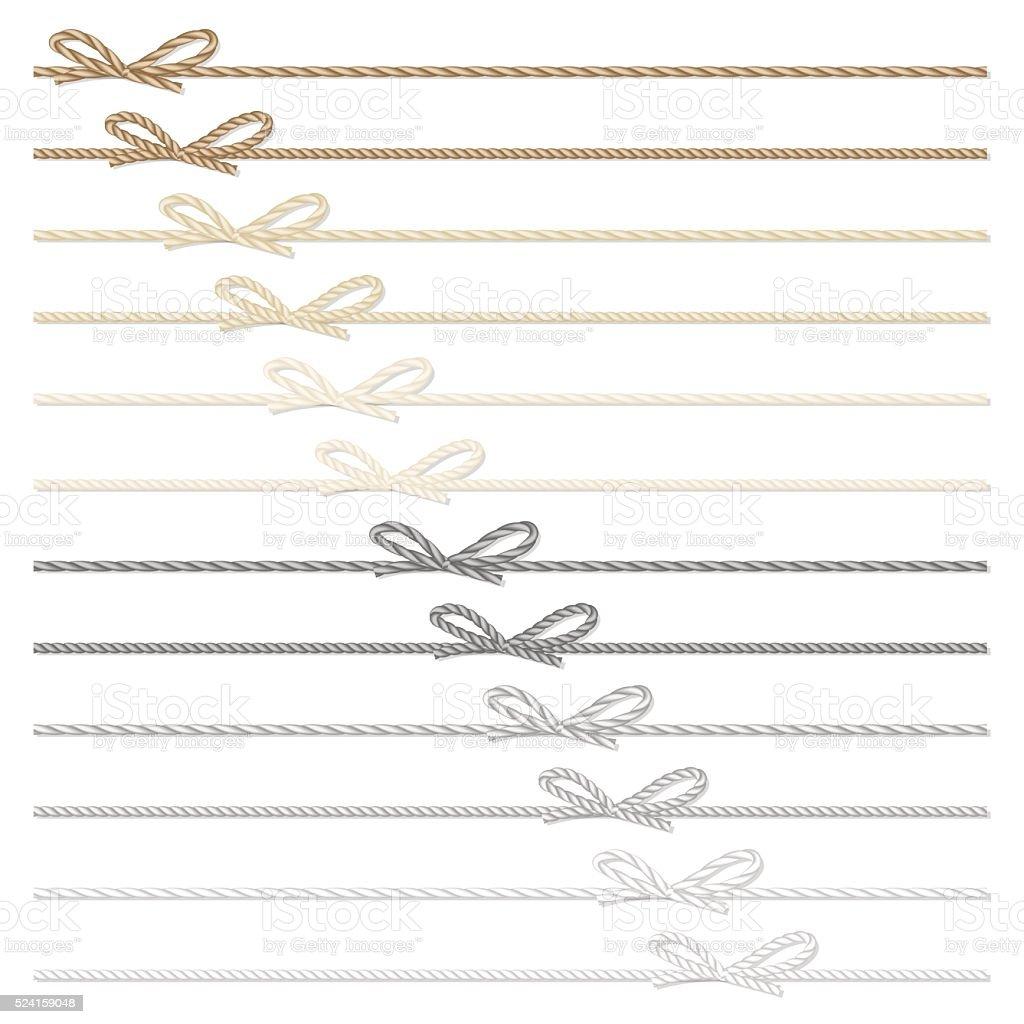 Rope bows and ribbons vector art illustration