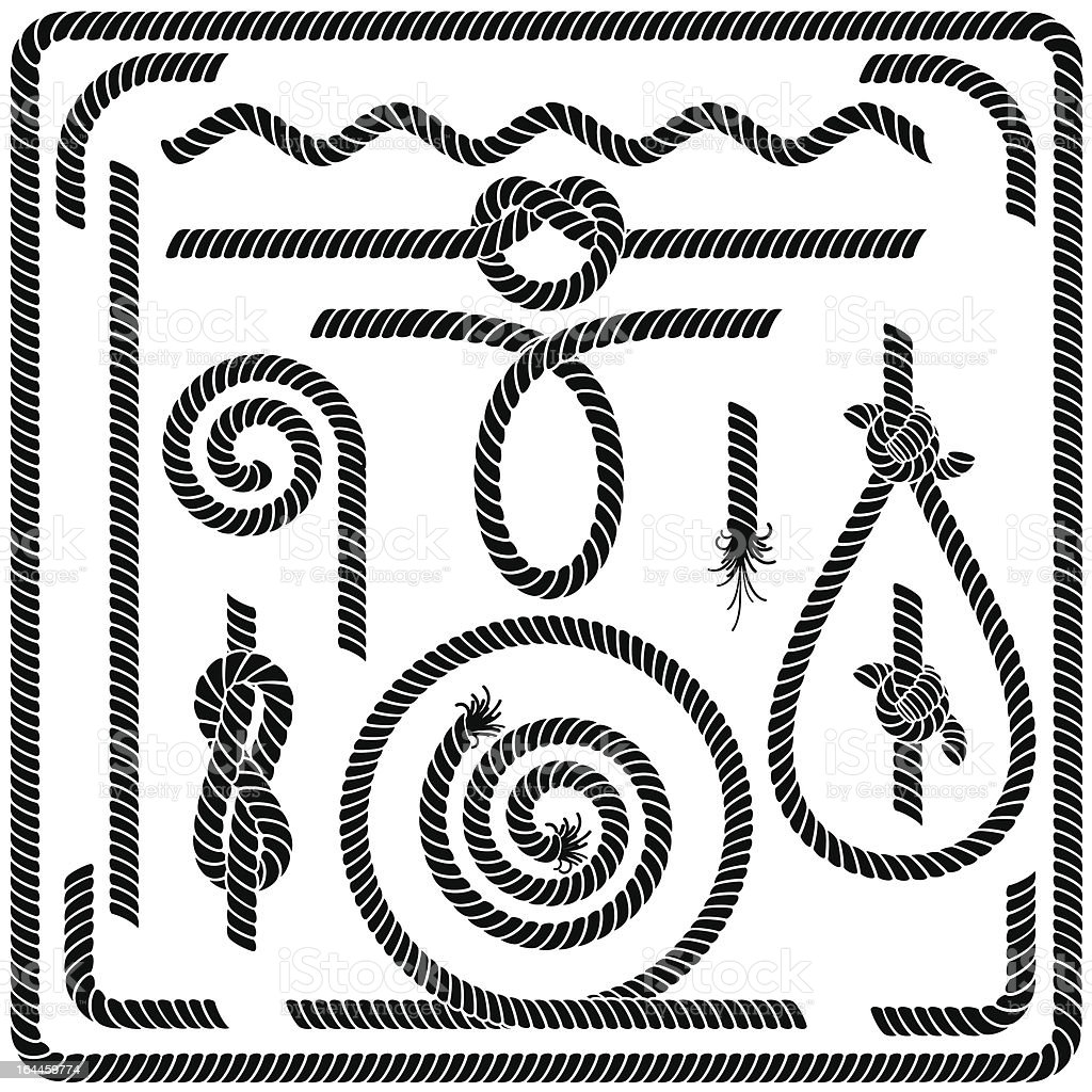 Rope elements outlines including knots in black and white vector art illustration
