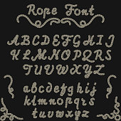 Rope font, nautical hand written Letters