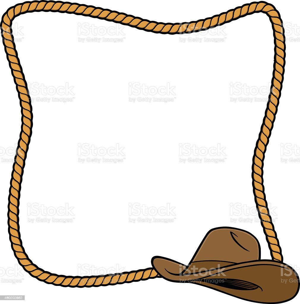 Rope frame and cowboy boot stock vector art 480202862 istock Rope photo frame