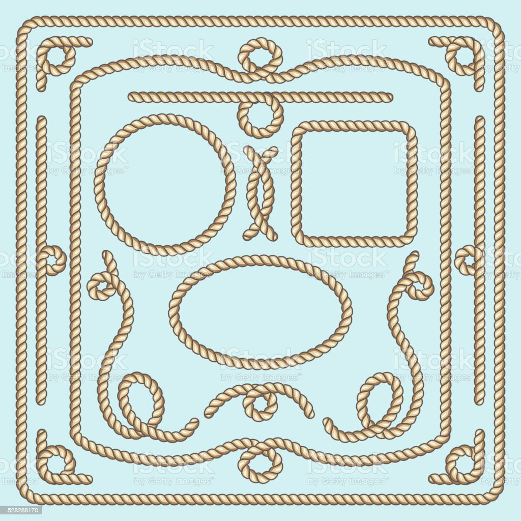 Rope frame, knots and corners. Vector decorative elements vector art illustration