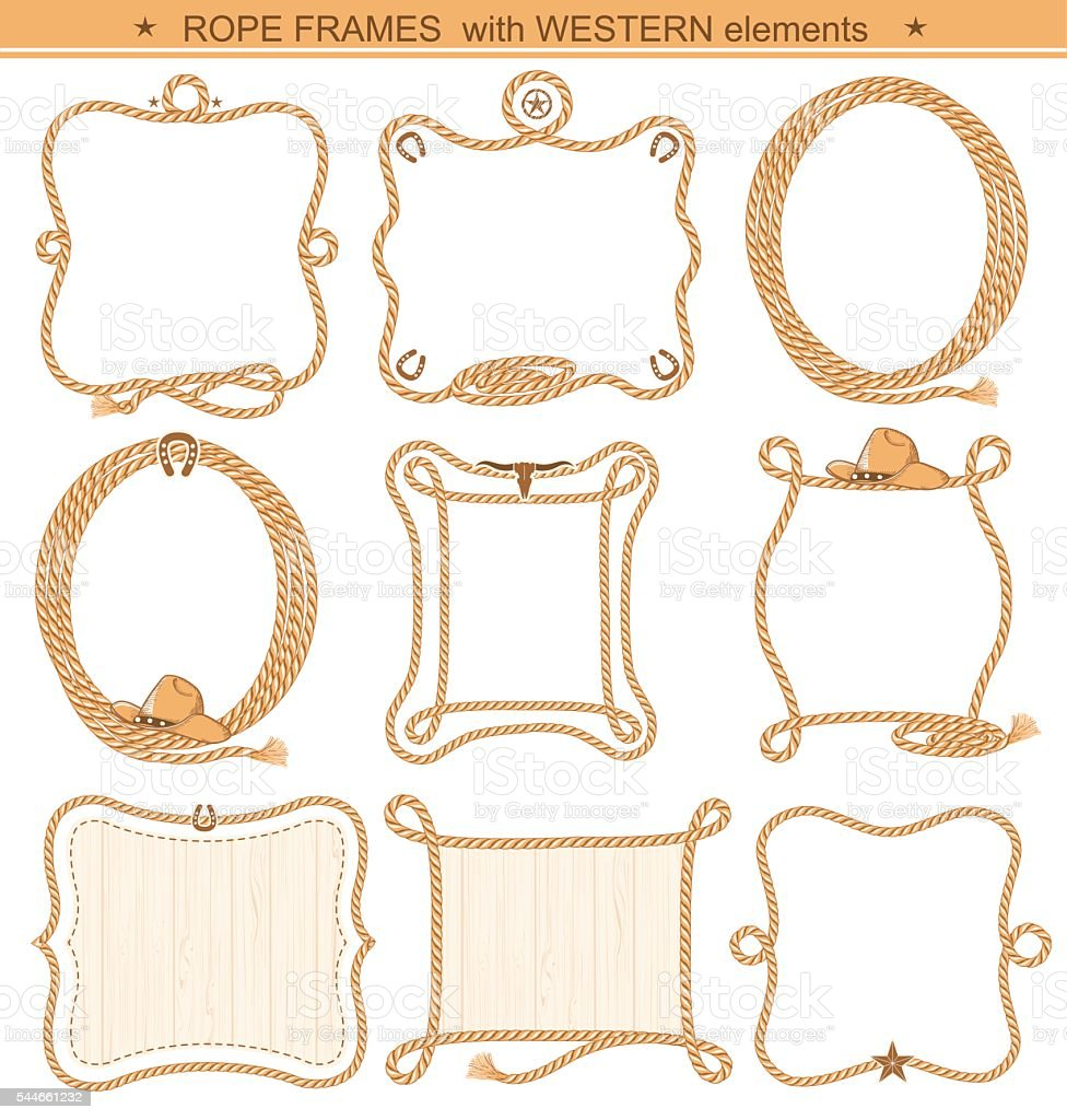 Rope frames background for text with cowboy elements isolated vector art illustration