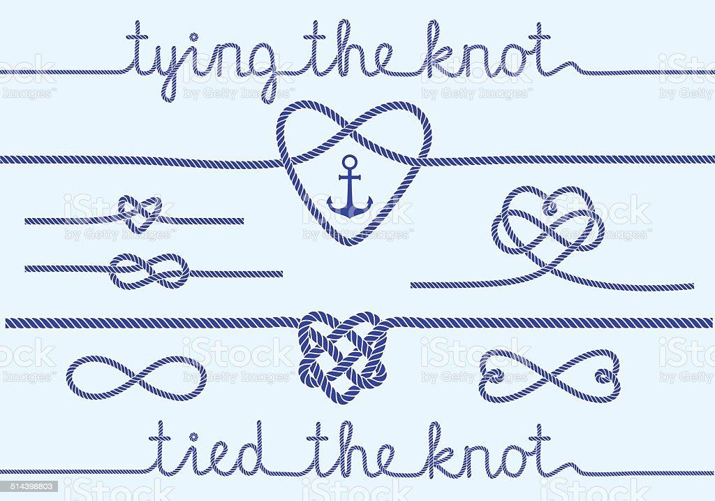 rope hearts and knots, vector set vector art illustration