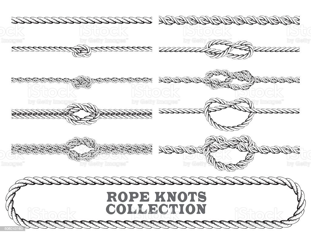 Rope knots collection. Overhand, Figure of eight and square knot. vector art illustration