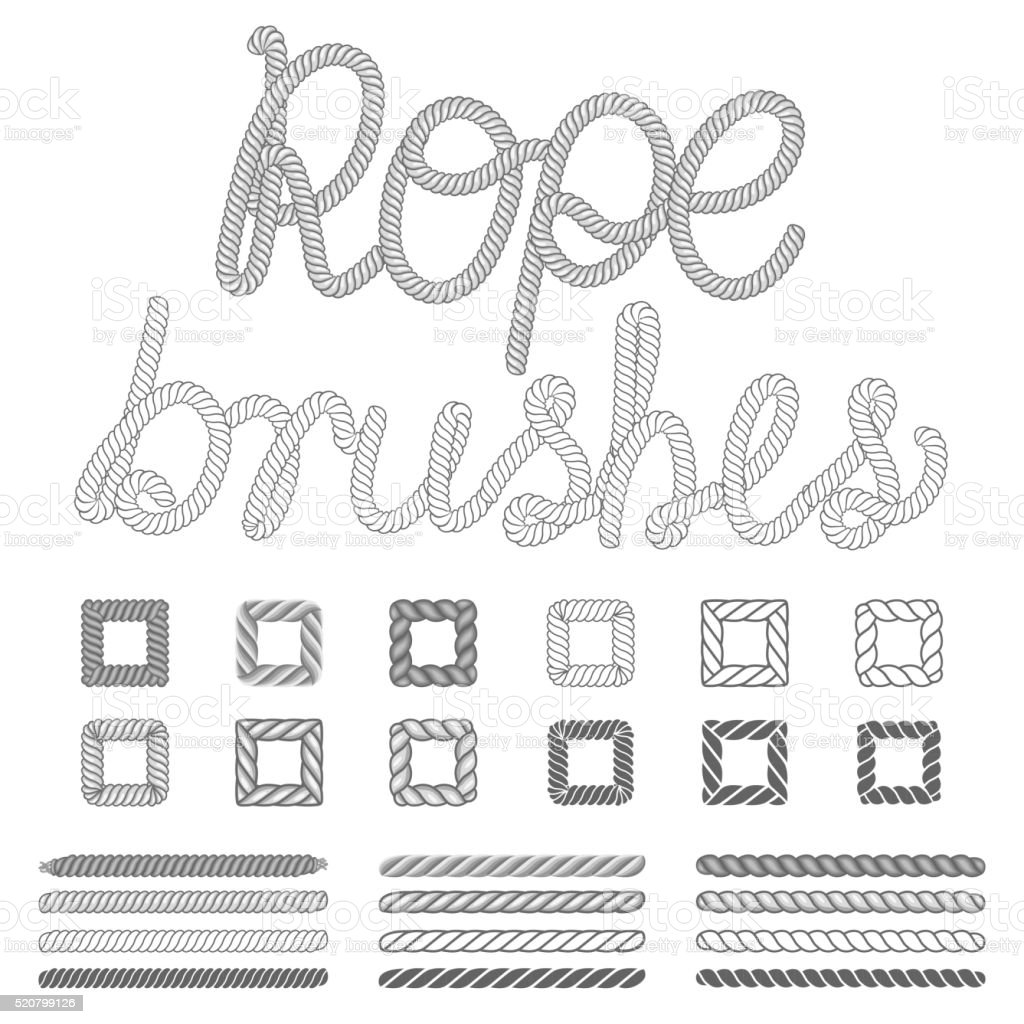 Rope nautical vector pattern brushes set vector art illustration