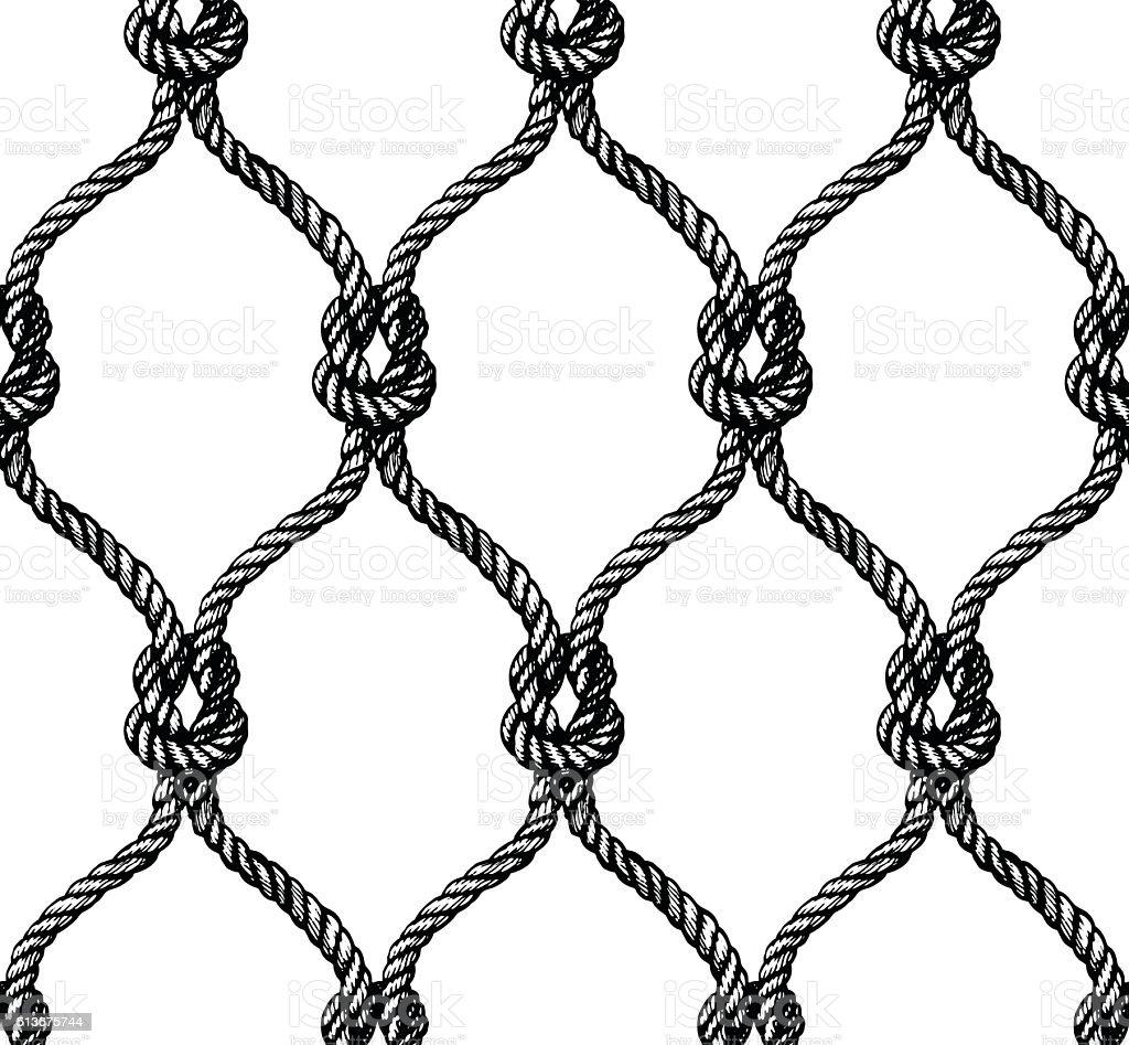 Rope seamless tied fishnet pattern vector art illustration