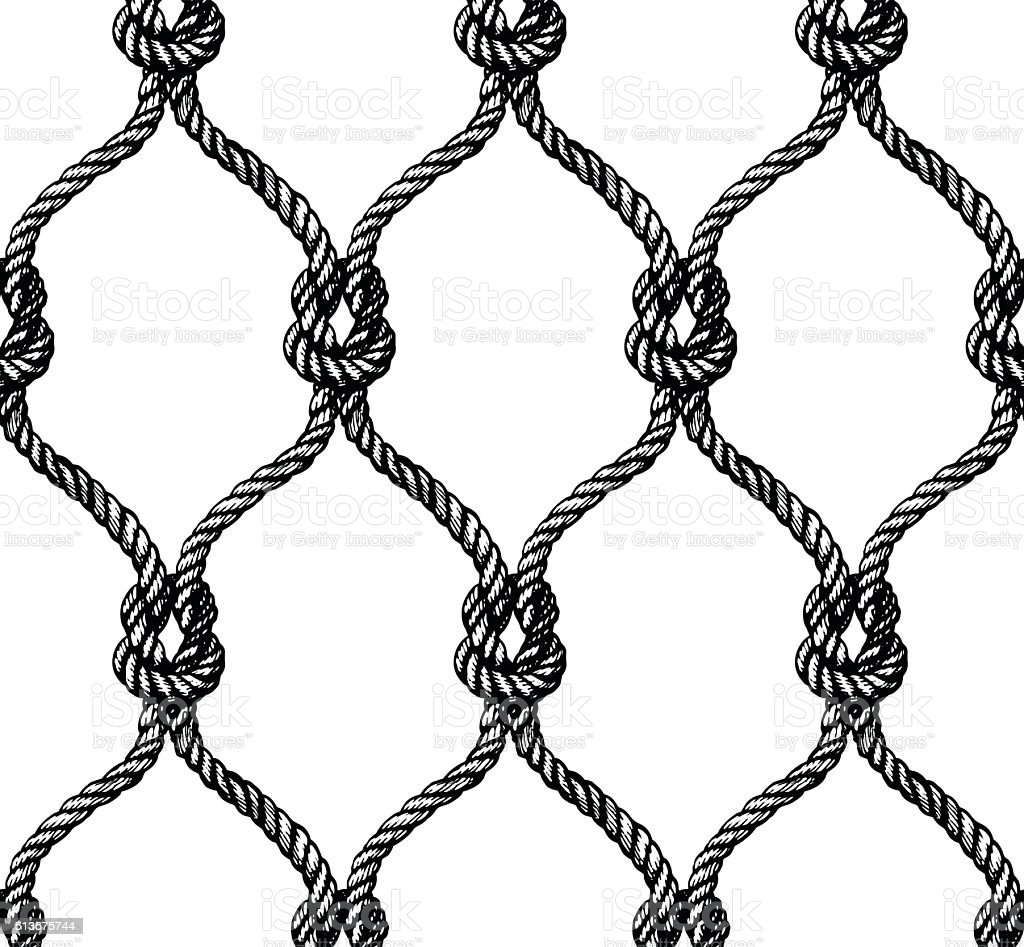 Rope seamless tied fishnet pattern vector art illustration