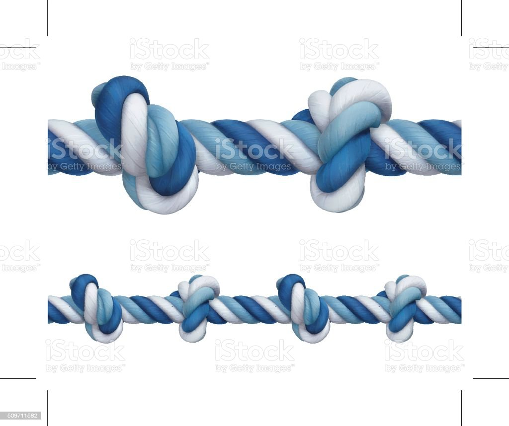 Rope with knots vector art illustration