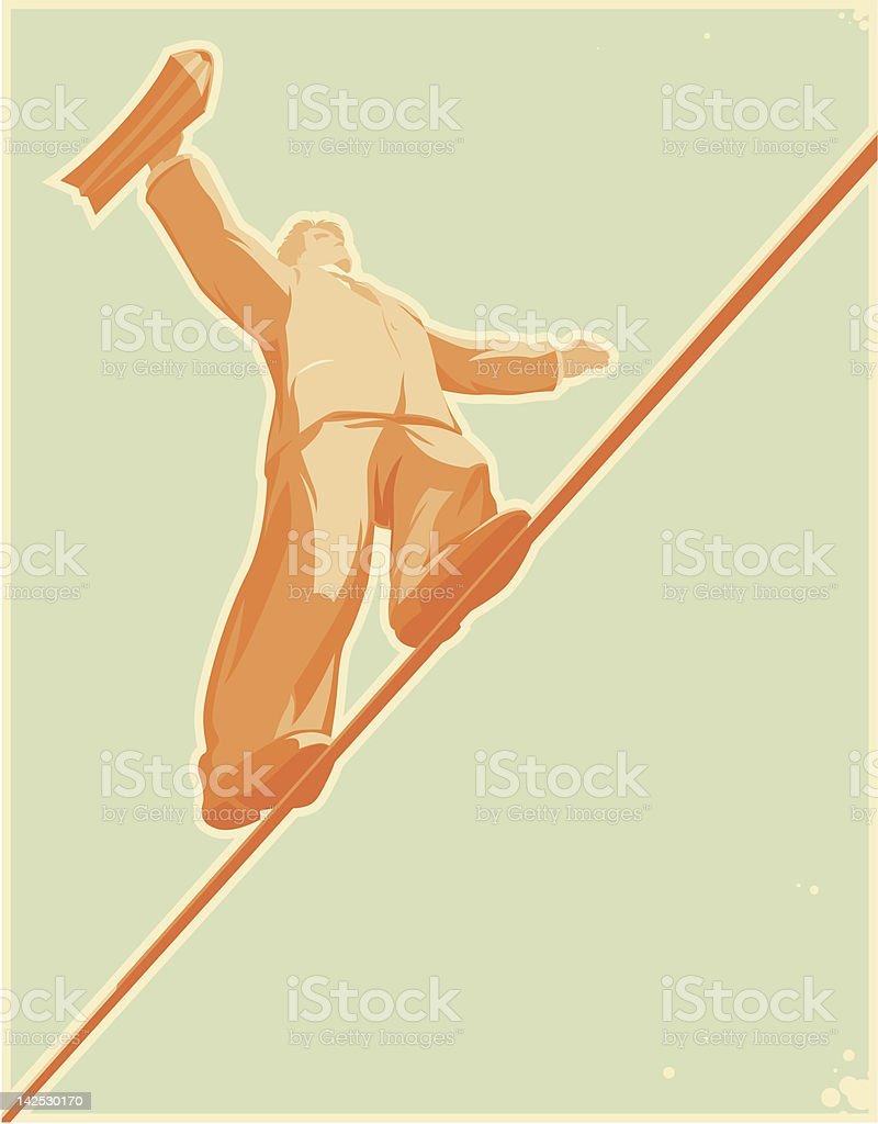 Rope-walker vector art illustration