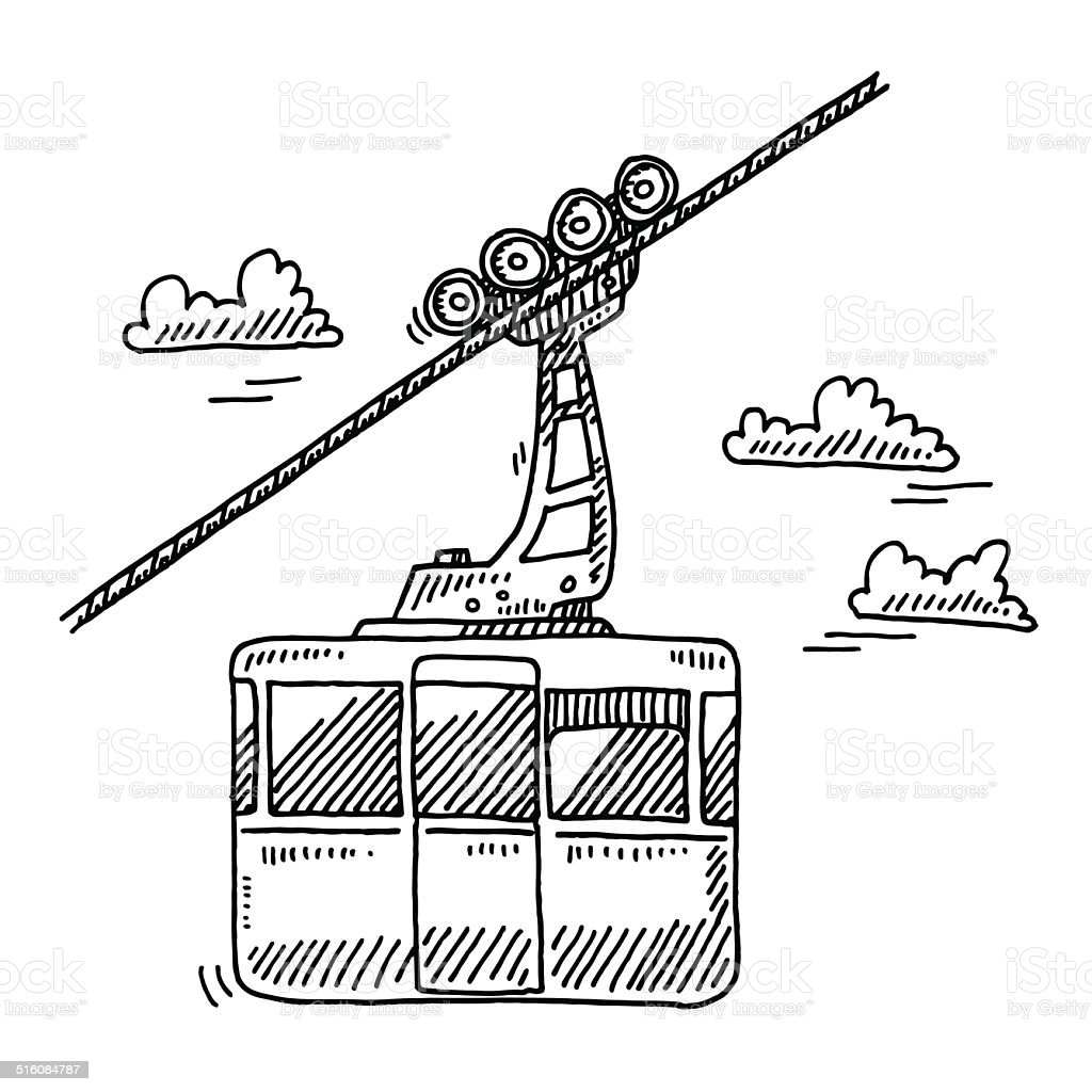 Ropeway Cabin Drawing vector art illustration