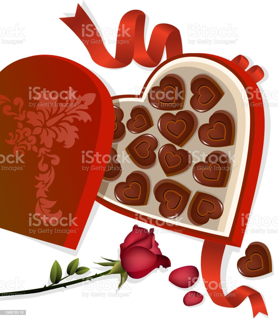 Rose and Chocolates vector art illustration