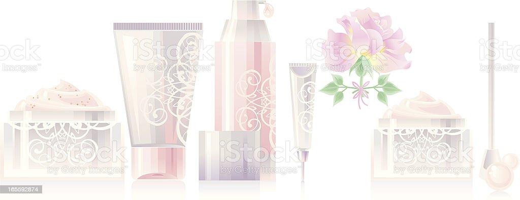 Rose Cosmetics Set vector art illustration