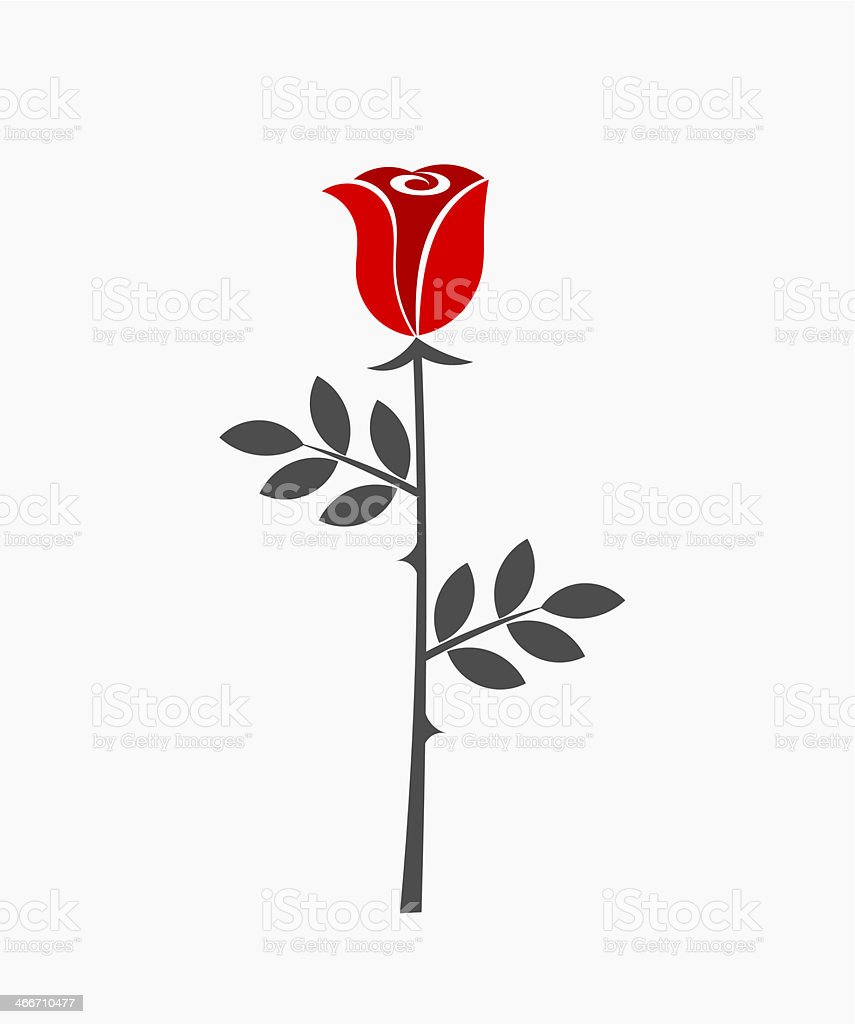 Rose flower icon vector art illustration