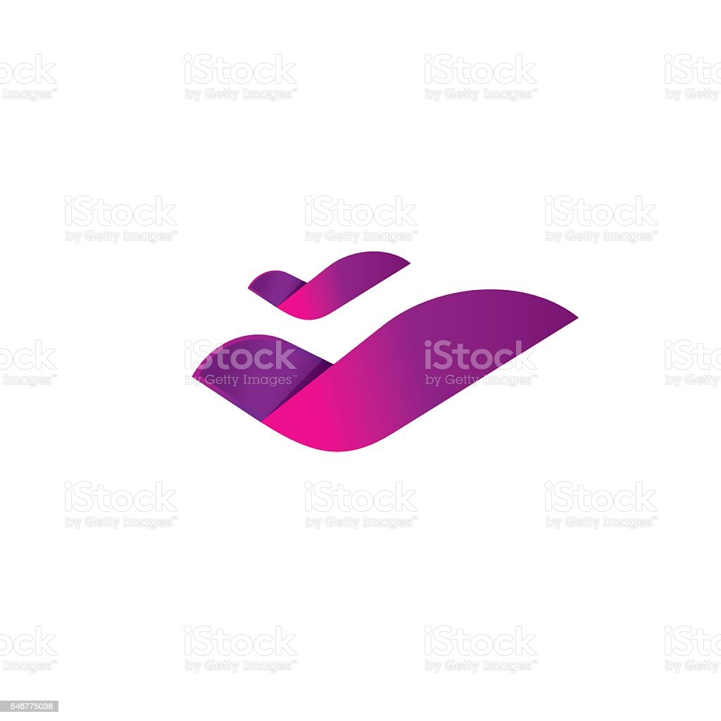 Rose flower, two birds flying logo abstract element fluid elegant vector art illustration