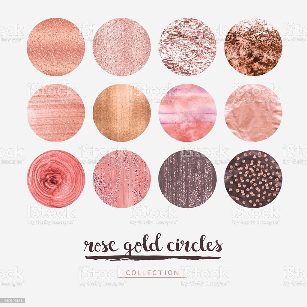 Rose gold glitter circles vector art illustration