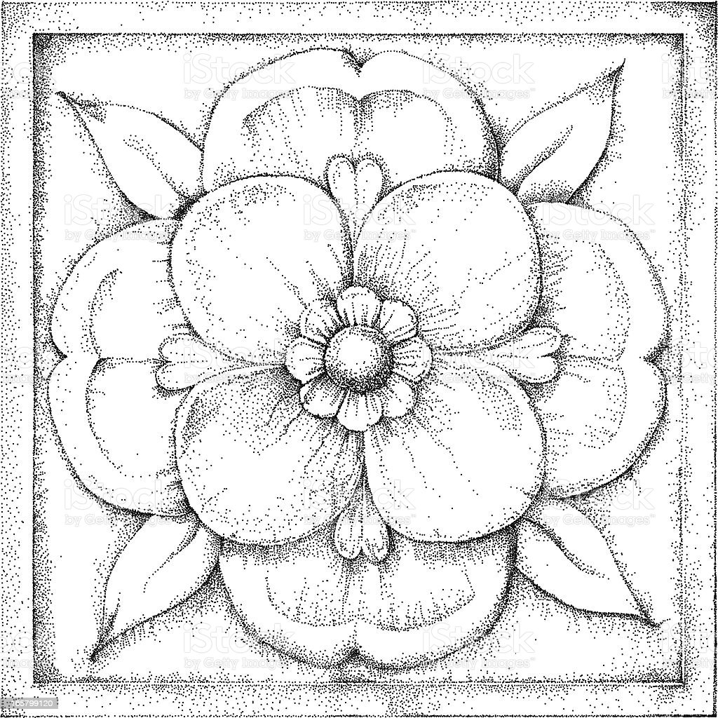 Rose Illustration, stippled. vector art illustration