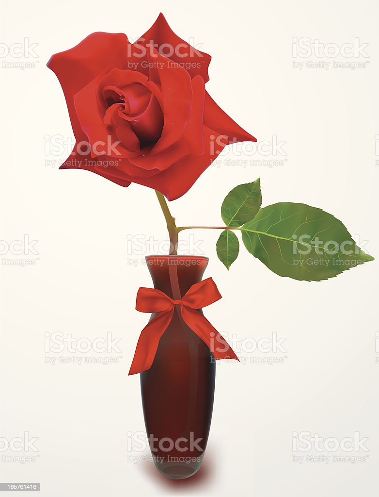 Rose In Vase-Vector Illustration royalty-free stock vector art